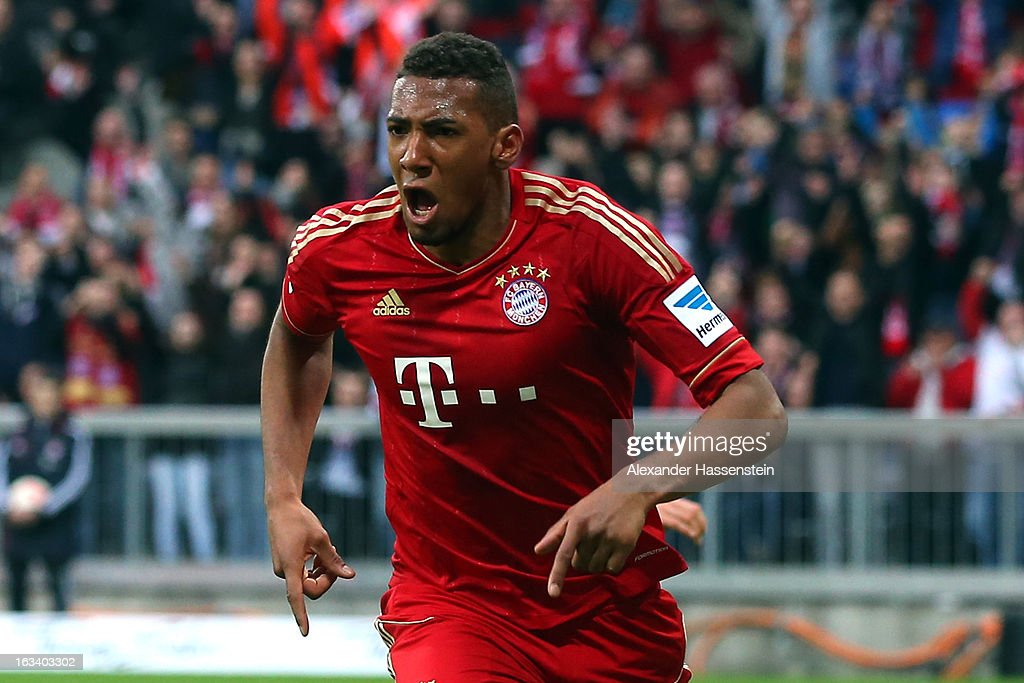 Jerome Boateng of Muenchen celebrates scoring the winning goal during the Bundesliga match between FC Bayern Muenchen and Fortuna Duesseldorf 1895 at Allianz Arena on March 9, 2013 in Munich, Germany.