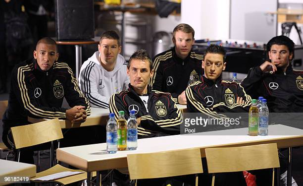 Jerome Boateng Thomas Hitzlsperger Manuel Neuer Miroslav Klose Mesut Oezil and Sedar Tasci of Germany pose during a record of a Mercedes Benz...