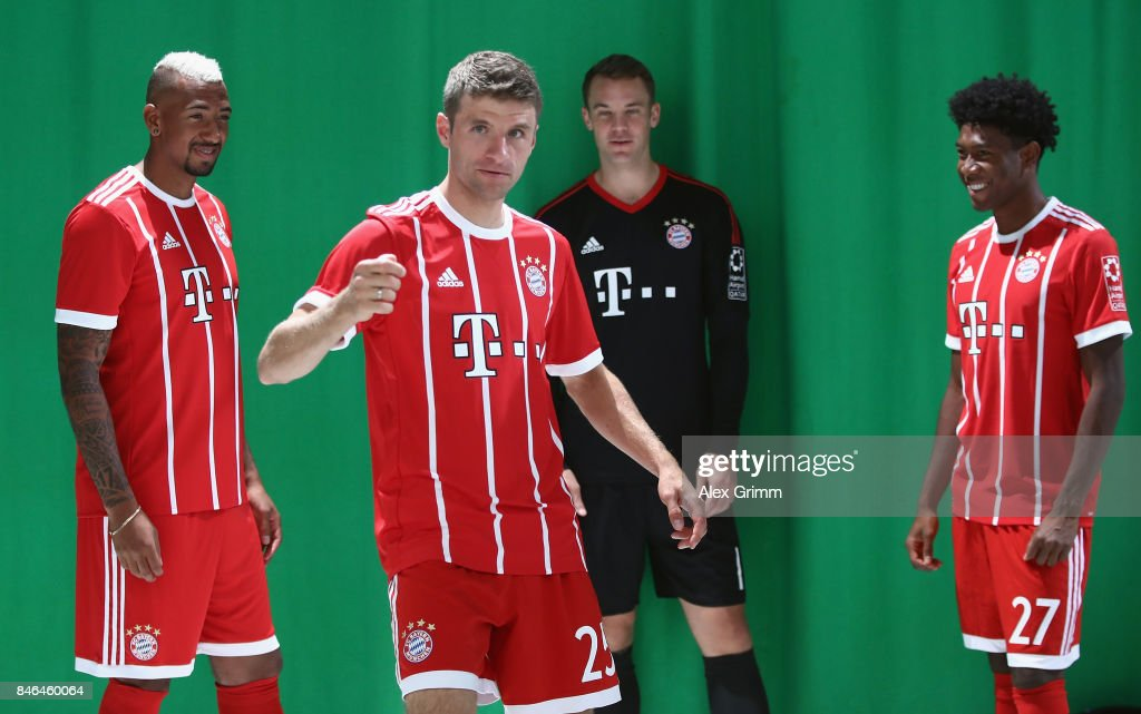 Jerome Boateng, Thomas Mueller, Manuel Neuer and David Alaba (L-R) attend the FC Bayern Muenchen Paulaner photo shoot in traditional Bavarian lederhosen on September 13, 2017 in Munich, Germany.