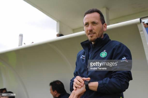 Jerome Bonnet coach of Saint Etienne during the women's National Cup match between Paris Saint Germain PSG and AS Saint Etienne at Camp des Loges on...