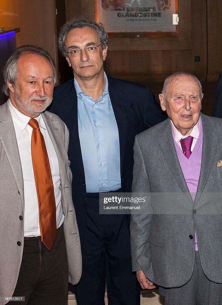 Jerome Clement, Georges-Marc Benamou and Daniel Cordier attend 'Alias Caracalla' Paris Premiere at Cinema l'Arlequin on April 25, 2013 in Paris, France.