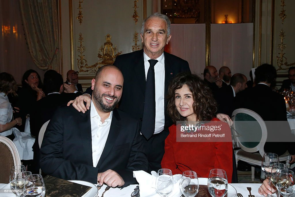 Jerome Commandeur, President of Academy des Cesars Alain Terzian and Valerie Lemercier attend the 'Cesar - Revelations 2017' Dinner at Hotel Meurice on January 16, 2017 in Paris, France.
