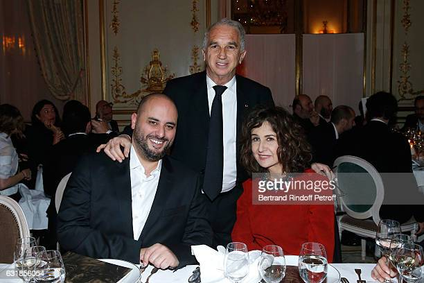Jerome Commandeur President of Academy des Cesars Alain Terzian and Valerie Lemercier attend the 'Cesar Revelations 2017' Dinner at Hotel Meurice on...