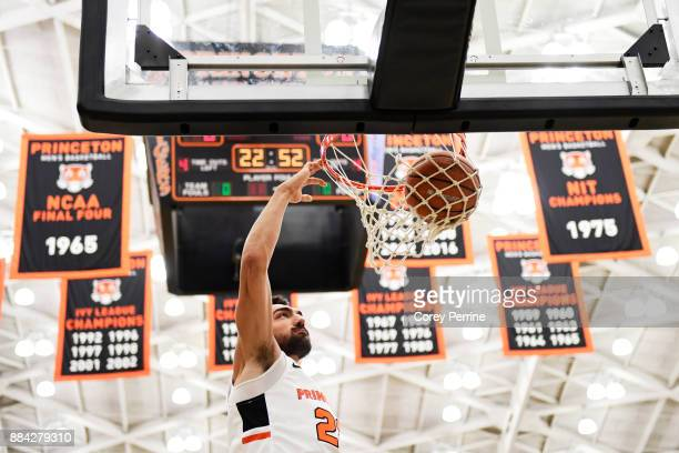 Jerome Desrosiers of the Princeton Tigers dunks the ball before the game against the Lehigh Mountain Hawks at L Stockwell Jadwin Gymnasium on...