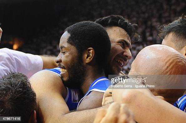 Jerome Dyson and Brian Sacchetti of Banco di Sardegna celebrates after the match of LegaBasket Serie A playoff Final Game 7 between Grissin Bon...