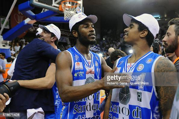 Jerome Dyson and Edgar Sosa of Banco di Sardegna celebrates after the match of LegaBasket Serie A playoff Final Game 7 between Grissin Bon Reggio...