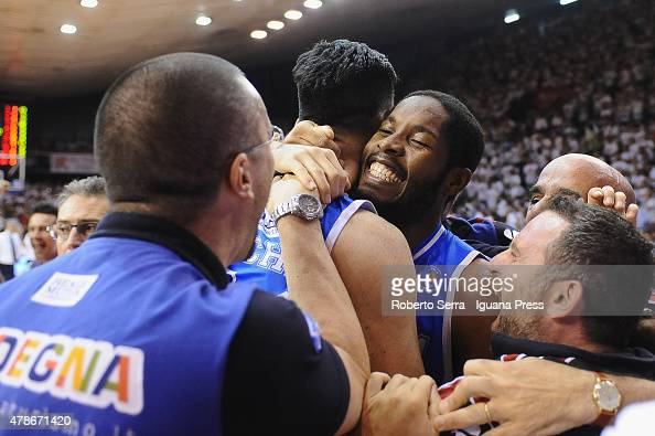 Jerome Dyson of Banco di Sardegna celebrates after the match of LegaBasket Serie A playoff Final Game 7 between Grissin Bon Reggio Emilia and Banco...