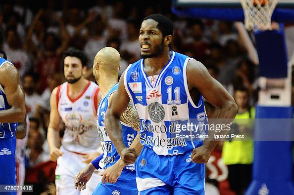 Jerome Dyson of Banco di Sardegna celebrates during the match of LegaBasket Serie A playoff Final Game 7 between Grissin Bon Reggio Emilia and Banco...