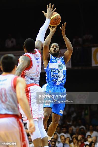 Jerome Dyson of Banco di Sardegna competes with Vitalis Chikoko of Grissin Bon during the match of LegaBasket Serie A playoff Final Game 7 between...