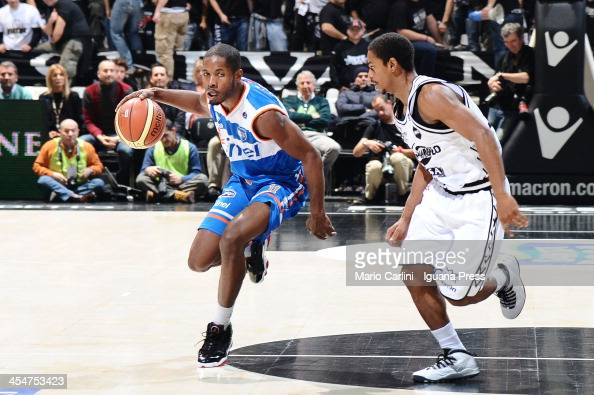 Jerome Dyson of Enel competes with Casper Ware of Granarolo during the LegaBasket Serie A1 match between Granarolo Bologna and Enel Brindisi at...