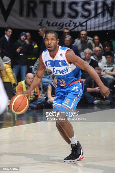 Jerome Dyson of Enel in action during the LegaBasket Serie A1 match between Granarolo Bologna and Enel Brindisi at Unipol Arena on December 8 2013 in...