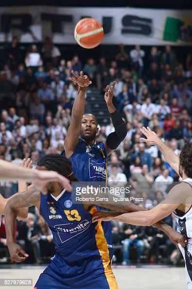 Jerome Dyson of Manital competes with Michele Vitali of Obiettivo Lavoro during the LegaBasket match between Virtus Obiettivo Lavoro Bologna v...