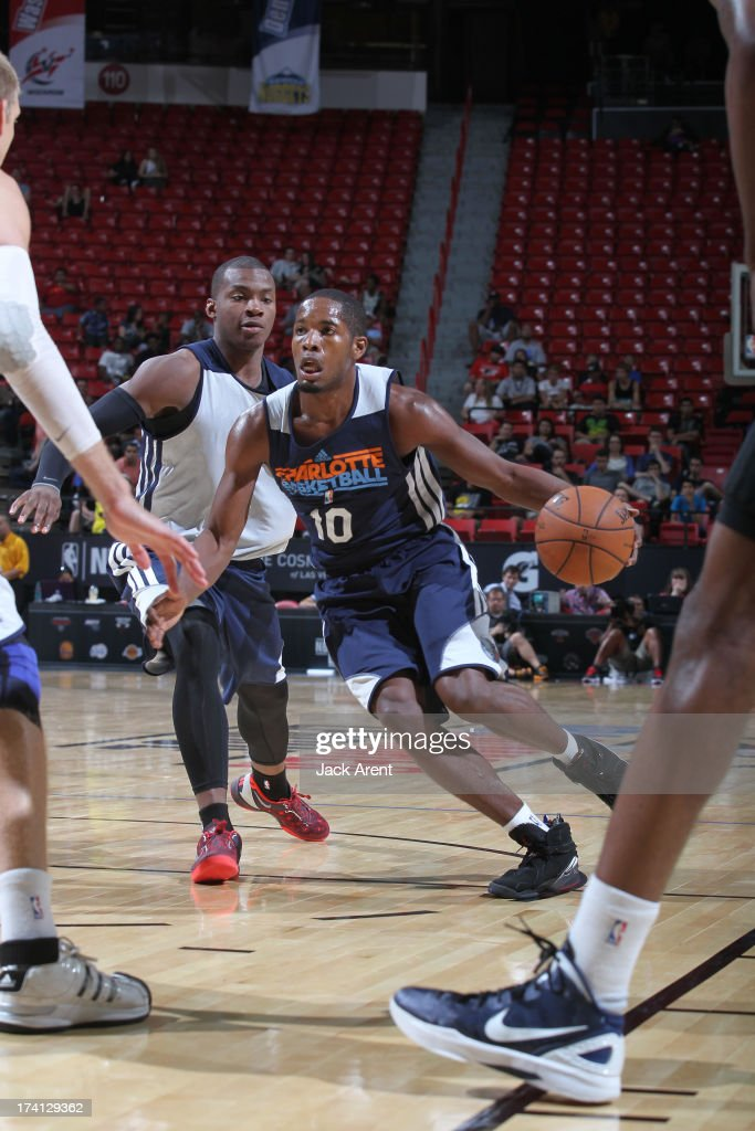 Jerome  Dyson #10 of the Charlotte Bobcats drives during NBA Summer League game between the D League Select and the Charlotte Bobcats on July 20, 2013 at the Thomas and Mack Center Center in Las Vegas, Nevada.