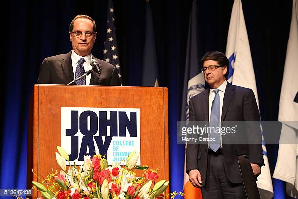 Jerome F Buting receives the John Jay Fierce Advocate Award during a ceremony at Gerald W Lynch Theater on March 3 2016 in New York City