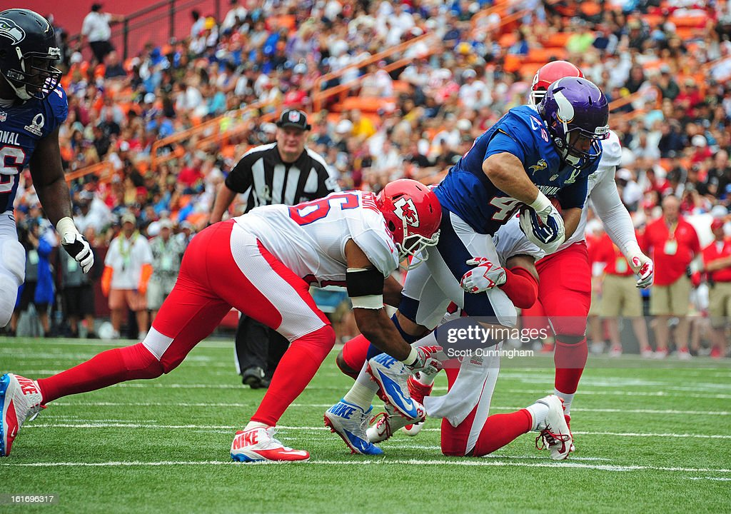 Jerome Felton #42 of the Minnesota Vikings and the NFC carries the ball against the American Football Conference team during the 2013 Pro Bowl at Aloha Stadium on January 27, 2013 in Honolulu, Hawaii
