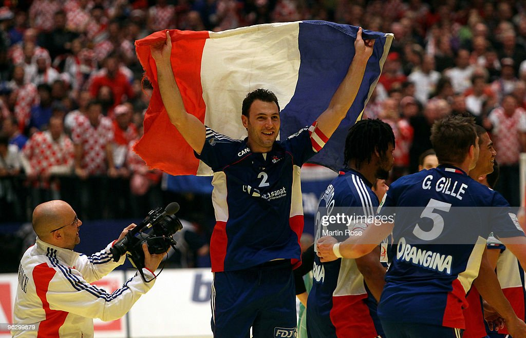 <a gi-track='captionPersonalityLinkClicked' href=/galleries/search?phrase=Jerome+Fernandez&family=editorial&specificpeople=791049 ng-click='$event.stopPropagation()'>Jerome Fernandez</a> of France celebrates after winning the Men's Handball European final match between France and Croatia at the Stadthalle on January 31, 2010 in Vienna, Austria.
