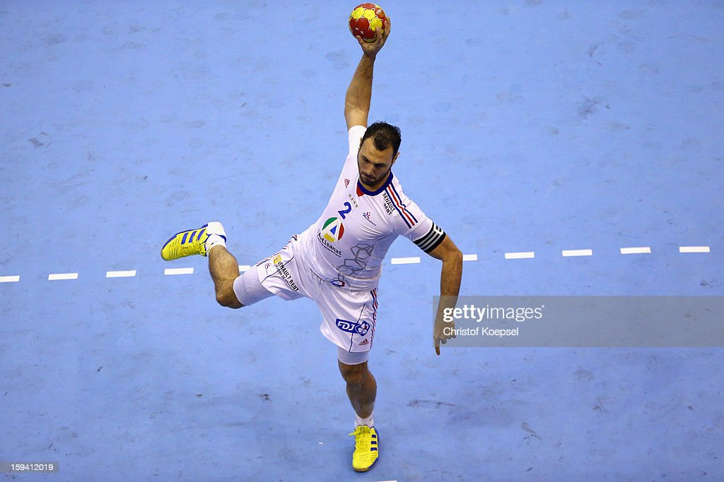 <a gi-track='captionPersonalityLinkClicked' href=/galleries/search?phrase=Jerome+Fernandez&family=editorial&specificpeople=791049 ng-click='$event.stopPropagation()'>Jerome Fernandez</a> of France throws a seven meter shot during the premilary group A match between Montenegro and France at Palacio de Deportes de Granollers on January 13, 2013 in Granollers, Spain.