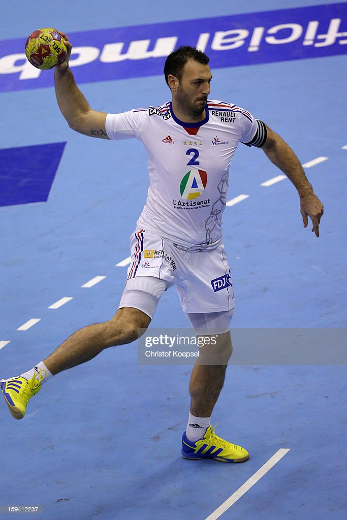 Jerome Fernandez of France throws a seven meter shot during the premilary group A match between Montenegro and France at Palacio de Deportes de Granollers on January 13, 2013 in Granollers, Spain.