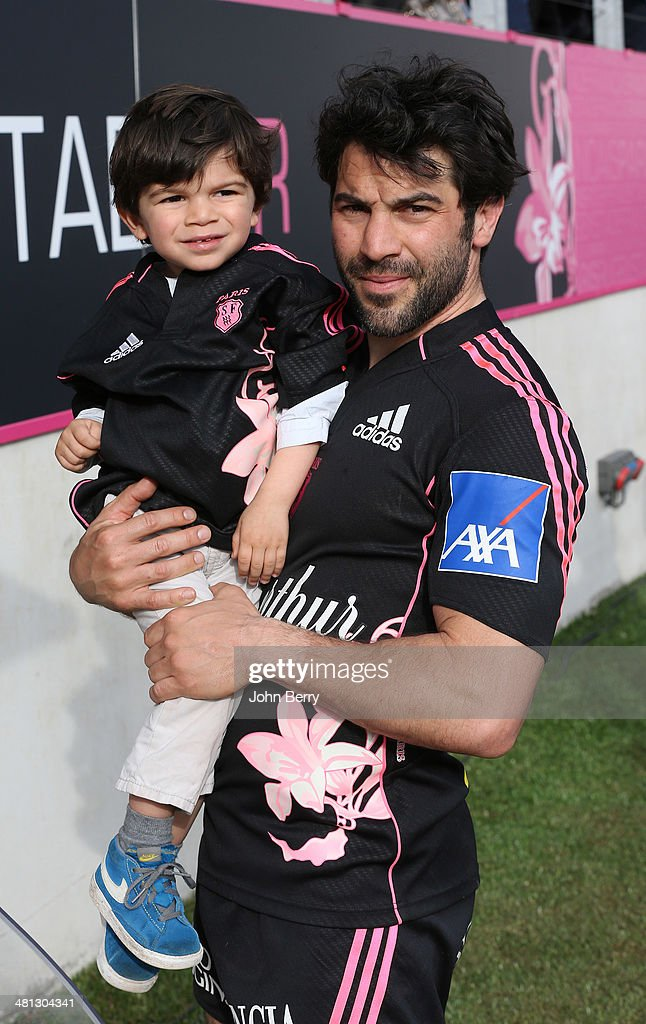 <a gi-track='captionPersonalityLinkClicked' href=/galleries/search?phrase=Jerome+Fillol&family=editorial&specificpeople=698636 ng-click='$event.stopPropagation()'>Jerome Fillol</a> of Stade Francais holds his son Leon Fillol after the Top 14 rugby match between Stade Francais Paris and Racing Metro 92 at Stade Jean Bouin on March 29, 2014 in Paris, France.