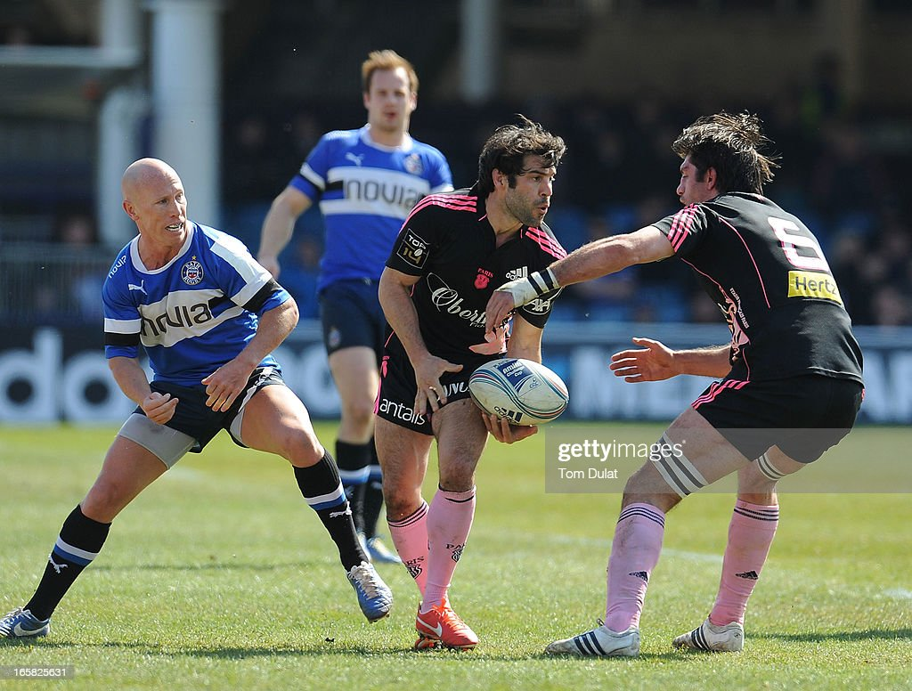 <a gi-track='captionPersonalityLinkClicked' href=/galleries/search?phrase=Jerome+Fillol&family=editorial&specificpeople=698636 ng-click='$event.stopPropagation()'>Jerome Fillol</a> of Stade Francais in action during the Amlin Challenge Cup Quarter Final match between Bath and Stade Francais at the Recreation Ground on April 06, 2013 in Bath, England.