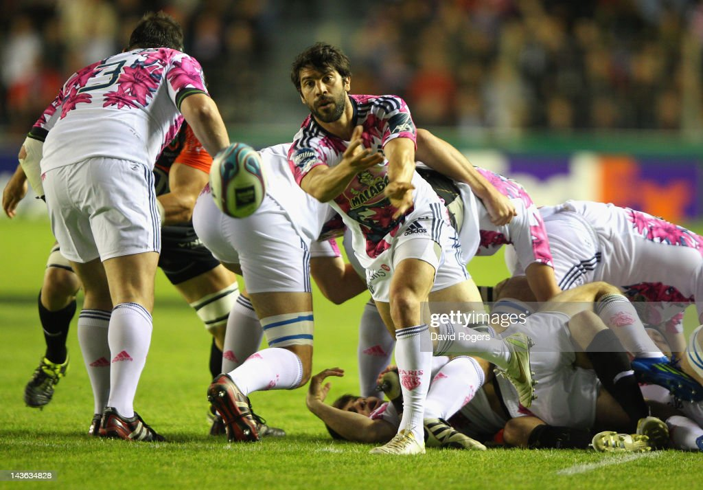 <a gi-track='captionPersonalityLinkClicked' href=/galleries/search?phrase=Jerome+Fillol&family=editorial&specificpeople=698636 ng-click='$event.stopPropagation()'>Jerome Fillol</a> of Stade Francais passes the ball during the Amlin Challenge Cup semi final match between Toulon and Stade Francais at Stade Felix Mayol on April 27, 2012 in Toulon, France.