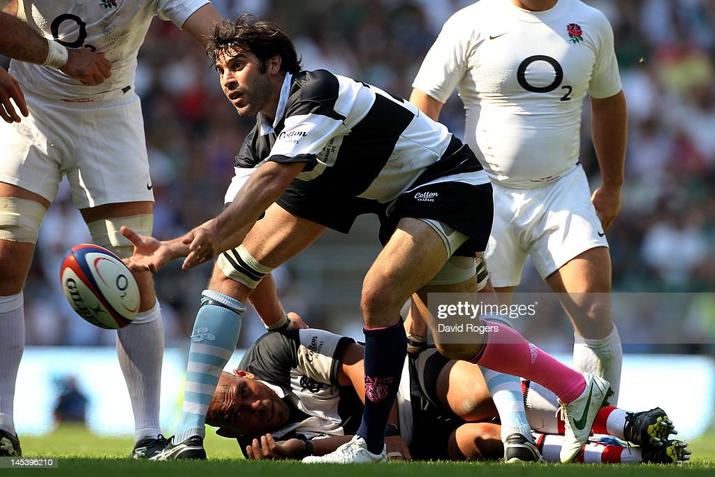 <a gi-track='captionPersonalityLinkClicked' href=/galleries/search?phrase=Jerome+Fillol&family=editorial&specificpeople=698636 ng-click='$event.stopPropagation()'>Jerome Fillol</a> of The Barbarians passes the ball during the Killik Cup match between England and The Barbarians at Twickenham Stadium on May 27, 2012 in London, England.