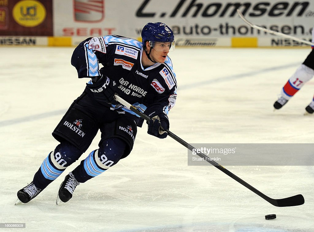Jerome Flaake of Hamburg in action during the DEL game between Hamburg Freezers and Thomas Sabo Ice Tigers at O2 World on January 25, 2013 in Hamburg, Germany.