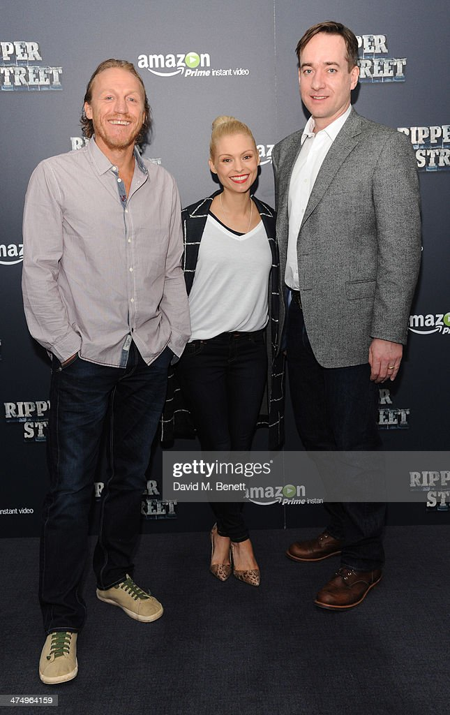 Jerome Flynn; MyAnna Buring and Matthew McFadden pose for the launch of drama 'Ripper Street' on Amazon Prime Instant Video, on February 26, 2014 in London, England.