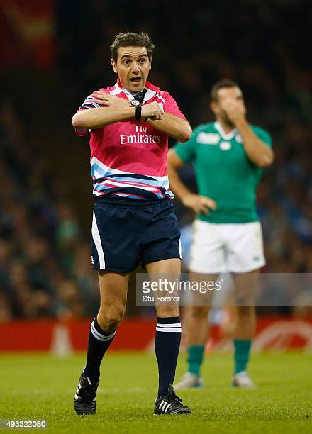 Jerome Garces in action during the 2015 Rugby World Cup Quarter Final match between Ireland and Argentina at Millennium Stadium on October 18 2015 in...