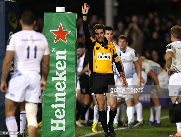 Jerome Garces the referee awards a penalty try to Bath during the European Rugby Champions Cup match between Bath and Leinster at the Recreation...