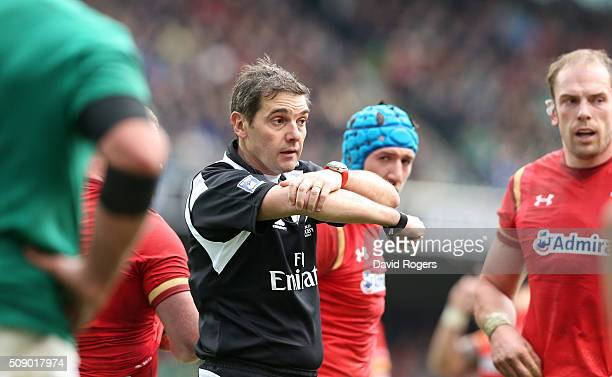 Jerome Garces the referee issues instructions during the RBS Six Nations match between Ireland and Wales at the Aviva Stadium on February 7 2016 in...