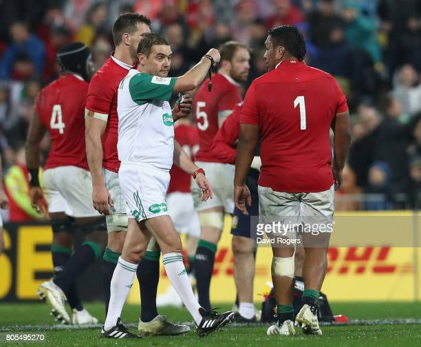 Jerome Garces the referee sendsLions prop Mako Vunipola to the sin bin during the match between the New Zealand All Blacks and the British Irish...