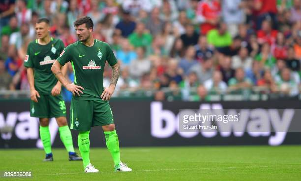 Jerome Gondorf of Bremen looks dejected during the Bundesliga match between SV Werder Bremen and FC Bayern Muenchen at Weserstadion on August 26 2017...