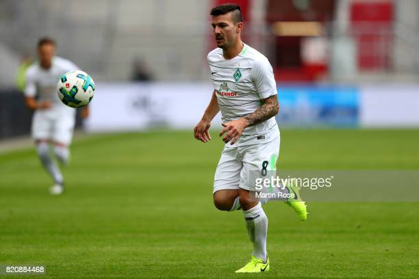 Jerome Gondorf of Bremen runs with the ball during the preseason friendly match between FC St Pauli and Werder Bremen at Millerntor Stadium on July...