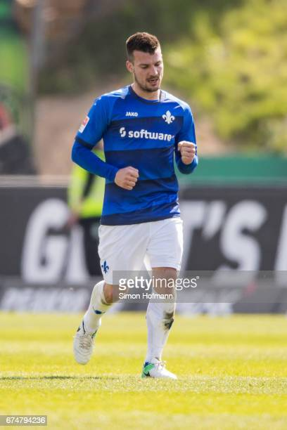 Jerome Gondorf of Darmstadt celebrates his team's second goal during the Bundesliga match between SV Darmstadt 98 and SC Freiburg at Stadion am...
