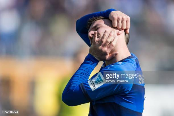 Jerome Gondorf of Darmstadt reacts during the Bundesliga match between SV Darmstadt 98 and SC Freiburg at Stadion am Boellenfalltor on April 29 2017...