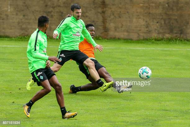 Jerome Gondorf of Werder Bremen and Ulisses Garcia of Werder Bremen battle for the ball during the Training Camp of SV Werder Bremen on July 14 2017...