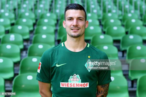 Jerome Gondorf of Werder Bremen poses during the team presentation at Weser Stadium on July 19 2017 in Bremen Germany
