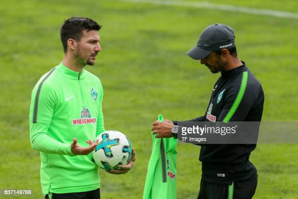 Jerome Gondorf of Werder Bremen speak with Head coach Alexander Nouri of Werder Bremen during the Training Camp of SV Werder Bremen on July 13 2017...