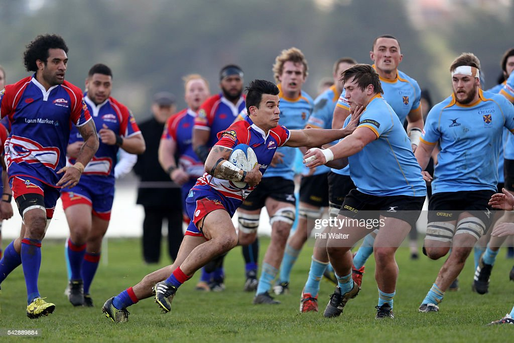 Jerome Harimate of Harbour in action during the Otago Club Rugby match between Harbour and University at Watson Park on June 25, 2016 in Dunedin, New Zealand.