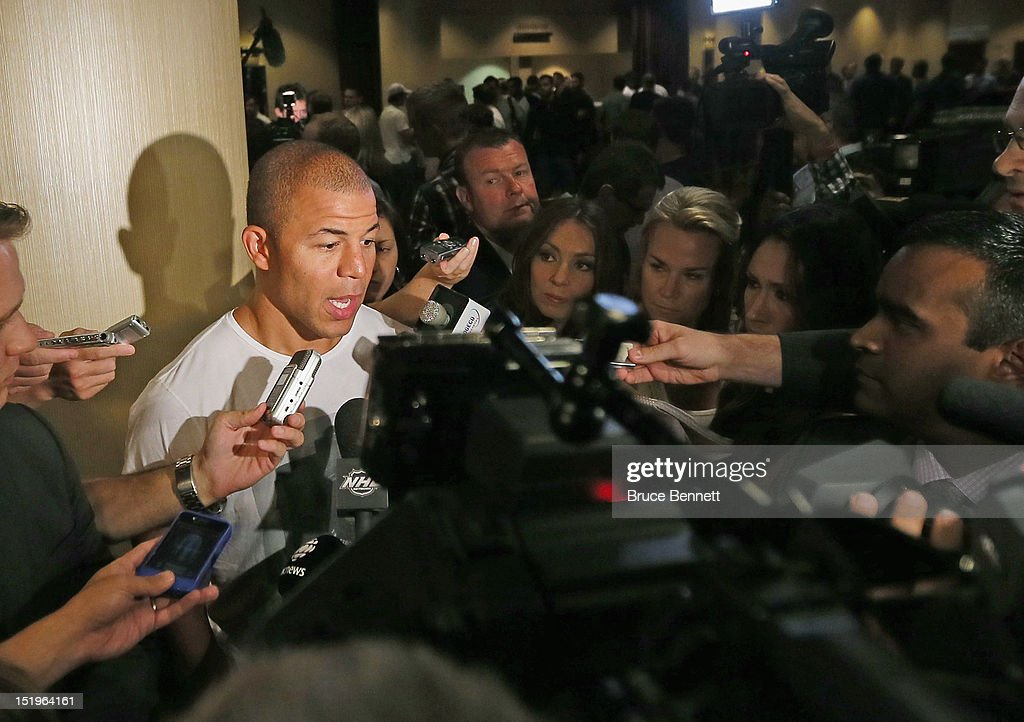 Jerome Iginla of the Calgary Flames speaks with the media following the NHLPA press conference at Marriott Marquis Times Square on September 13, 2012 in New York City.