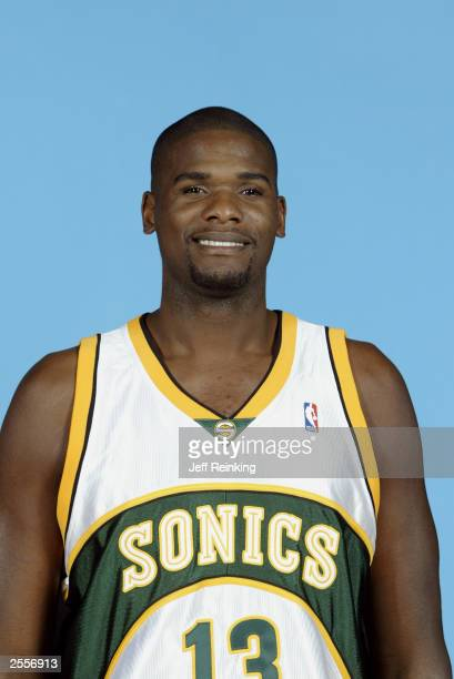 Jerome James of the Seattle Sonics poses during the NBA Media Day at the Furtado Center on September 29 2003 in Seattle Washington NOTE TO USER User...