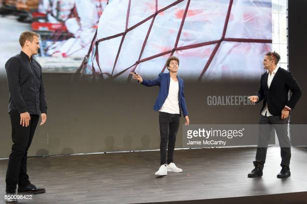 Jerome Jarre Juanpa Zurita and Casey Neistat speak speaks at Goalkeepers 2017 at Jazz at Lincoln Center on September 20 2017 in New York City...