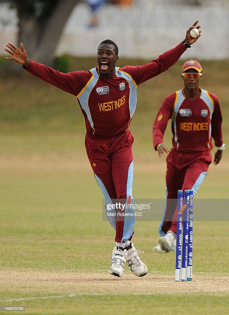 Jerome Jones of the West indies celebrates a wicket during the ICC U19 Cricket World Cup 2012 Semi Final match between Pakistan and the West Indies at Endeavour Park on August 22, 2012 in Townsville, Australia.