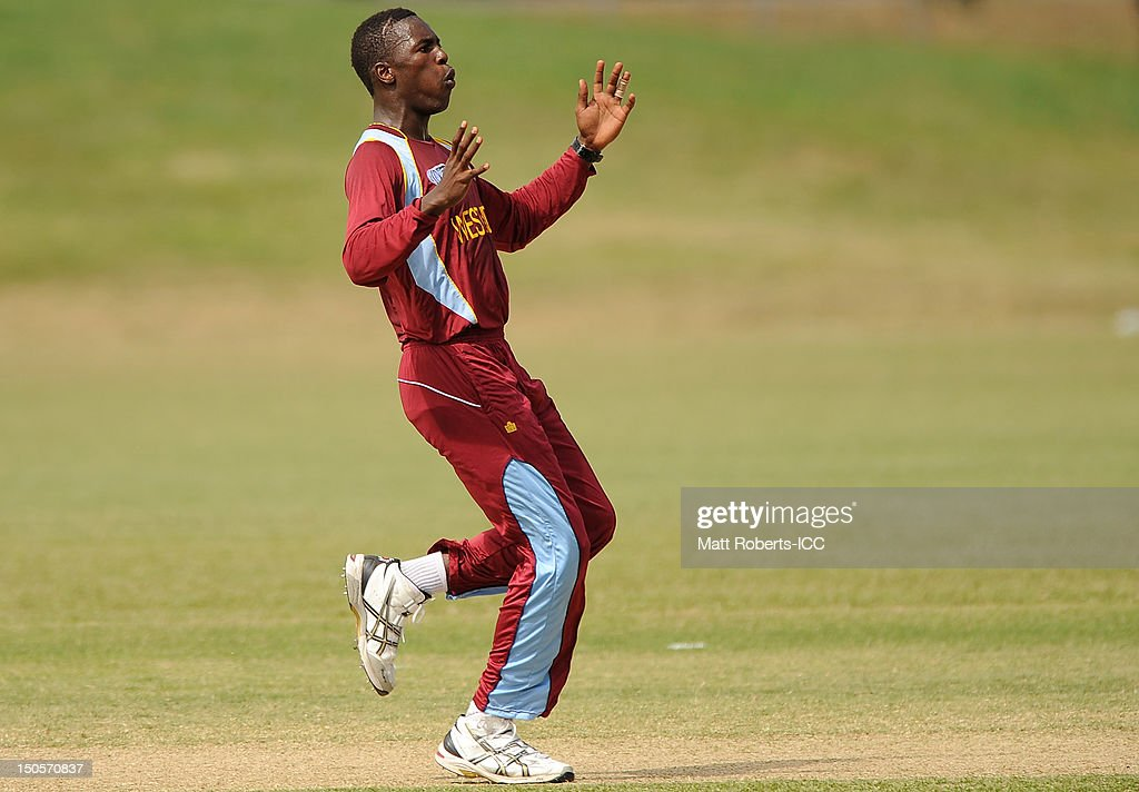 Jerome Jones of the West indies reacts during the ICC U19 Cricket World Cup 2012 Semi Final match between Pakistan and the West Indies at Endeavour Park on August 22, 2012 in Townsville, Australia.
