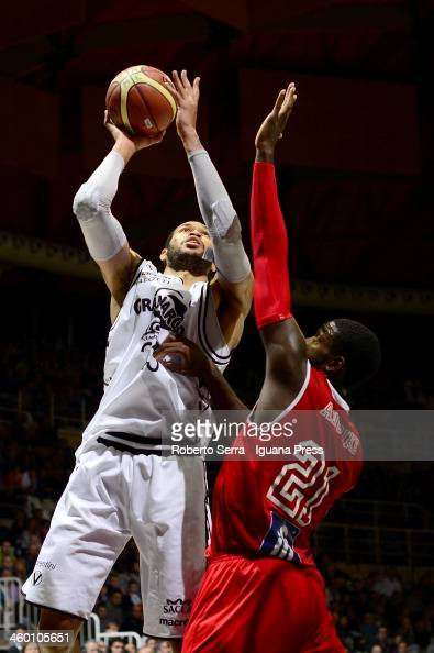 Jerome Jordan of Granarolo competes with Oderah Anosike of Pesaro during the LegaBasket Serie A1 match between Granarolo Bologna and Victoria...