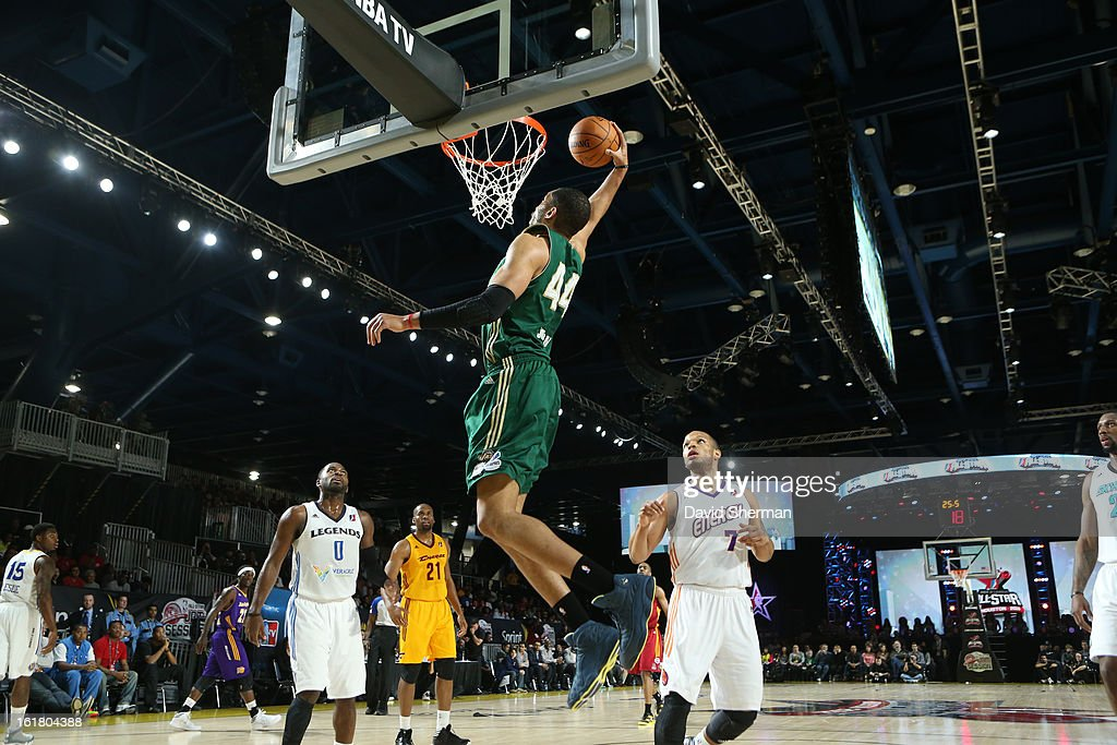 Jerome Jordan #44 of the Futures team dunks against Chris Wright #7 of the Prospects team during the 2013 NBA D-League All-Star Game in Sprint Arena at Jam Session during NBA All Star Weekend on February 16, 2013 at the George R. Brown in Houston, Texas.