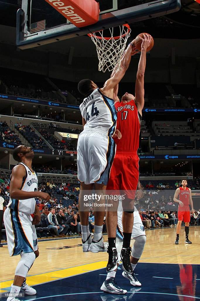 Jerome Jordan #44 of the Memphis Grizzlies blocks <a gi-track='captionPersonalityLinkClicked' href=/galleries/search?phrase=Jonas+Valanciunas&family=editorial&specificpeople=5654195 ng-click='$event.stopPropagation()'>Jonas Valanciunas</a> #17 of the Toronto Raptors on October 26, 2012 at FedExForum in Memphis, Tennessee.