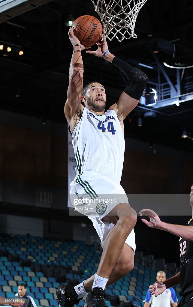Jerome Jordan #44 of the Reno Bighorns shoots the ball against the Erie BayHawks during the 2013 NBA D-League Showcase on January 9, 2013 at the Reno Events Center in Reno, Nevada.