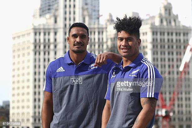 Jerome Kaino and Ardie Savea of the New Zealand All Blacks pose outside following a press conference at the Hyatt Regency Hotel on October 31 2016 in...